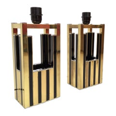 Midcentury Golden Brass Black Emanel Pair of Table Lamps by Willy Rizzo, 1970s