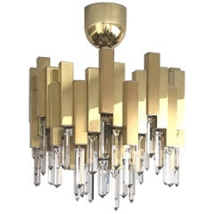 Midcentury Golden Brass Prism Crystals Chandelier by Lumica, Barcelona, 1970s