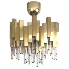 Midcentury Golden Brass Prism Crystals Chandelier by Lumica, Barcelona, 1970s