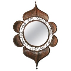Midcentury Golden Mirror Illuminated Decorated with Leaves and Roses Spain 1960s