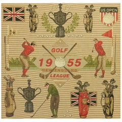 Midcentury Golf US Open Commemorative Picture Tapestry New England League c1955