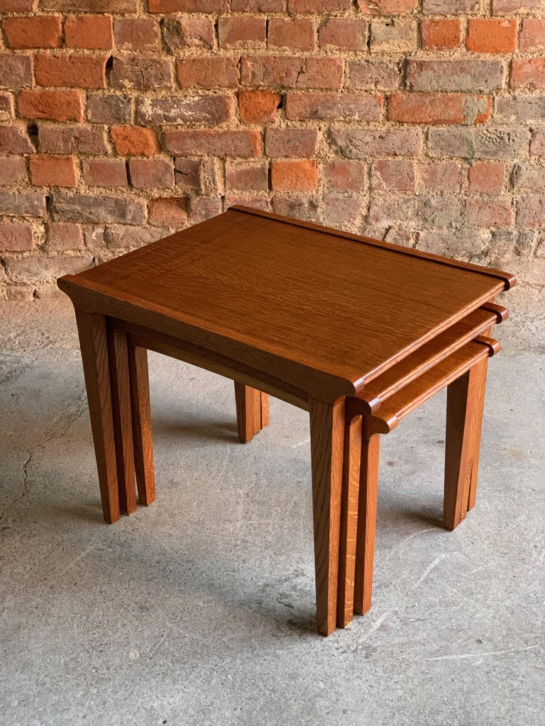 English Midcentury Gordon Russell Nest of Tables Set of Three Oak, 1950s For Sale