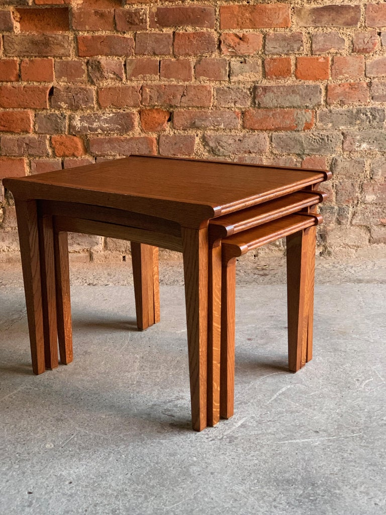 Mid-20th Century Midcentury Gordon Russell Nest of Tables Set of Three Oak, 1950s For Sale