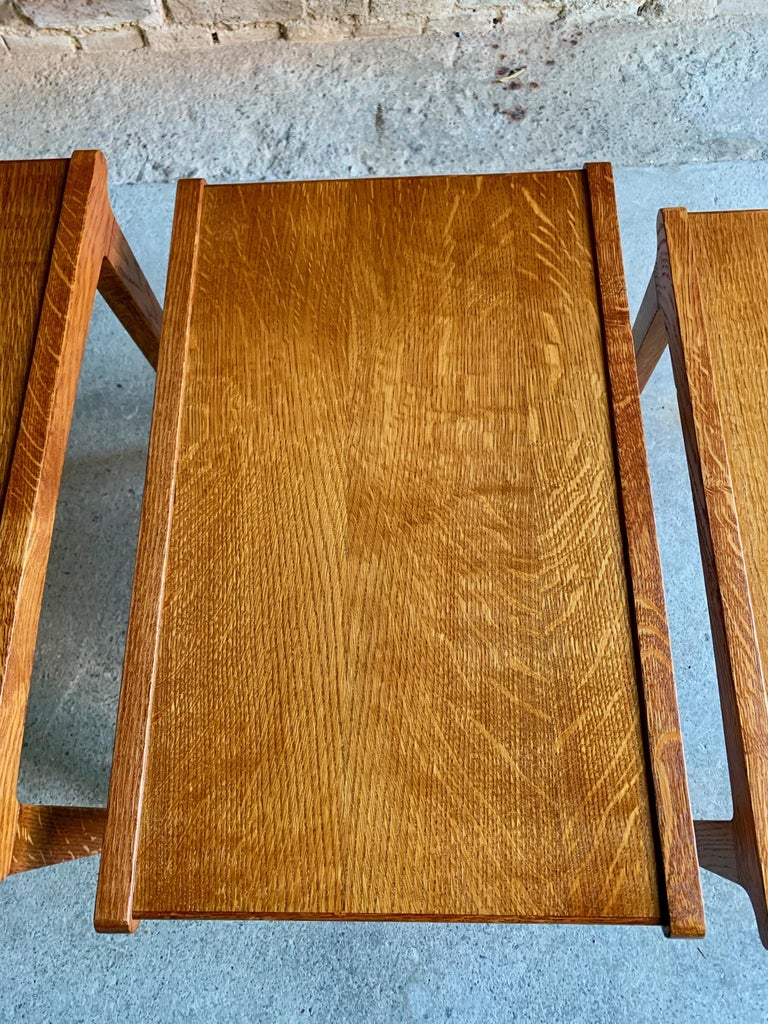 Midcentury Gordon Russell Nest of Tables Set of Three Oak, 1950s For Sale 1