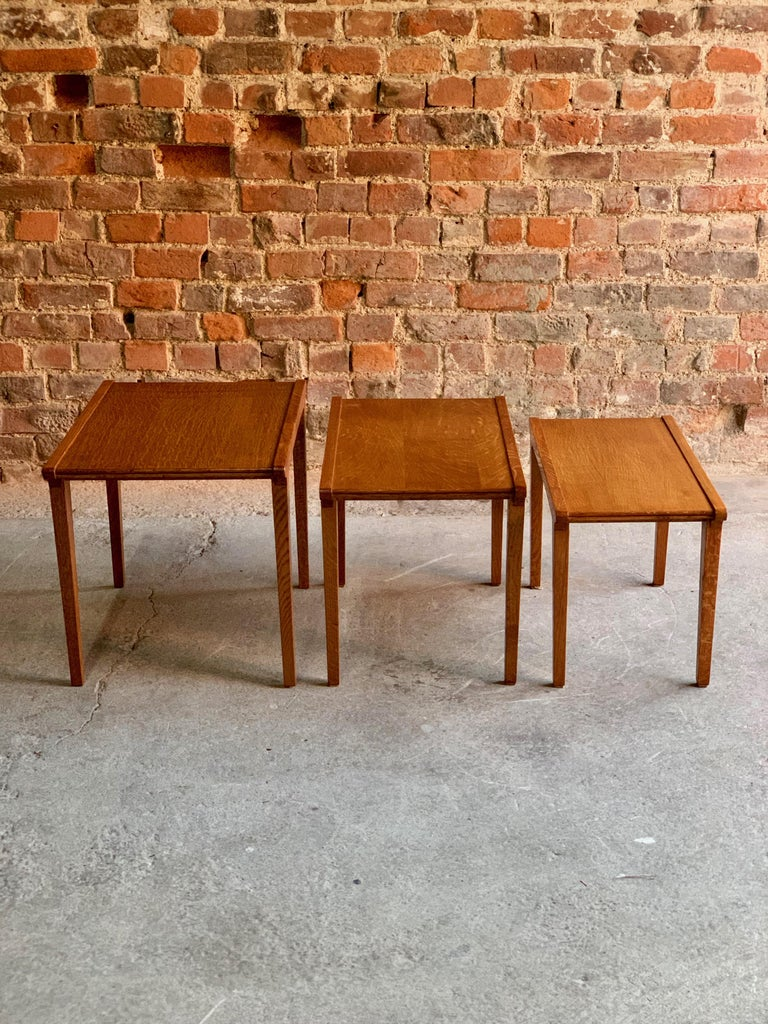Midcentury Gordon Russell Nest of Tables Set of Three Oak, 1950s For Sale 4