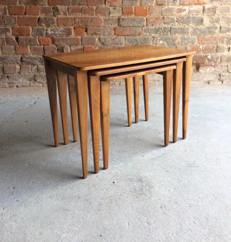 Mid-Century Modern Midcentury Gordon Russell Nest of Tables Set of Three Walnut and Teak, 1950s For Sale