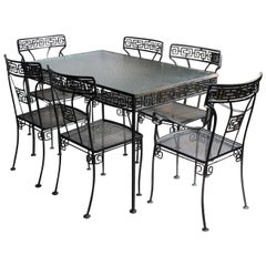 Midcentury Greek Key Patio Wrought Iron Glass Top Dining Chairs Table Set for 6