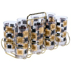 Midcentury Greek Themed 22-Karat Gold Highball Glasses