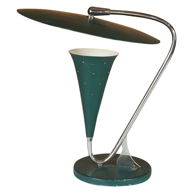 Midcentury Green and Chrome Lamp For Sale