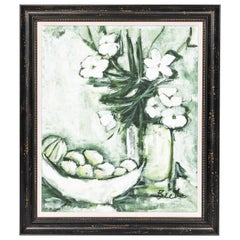 Midcentury 'Green and White' Still Life of Fruit and Flowers
