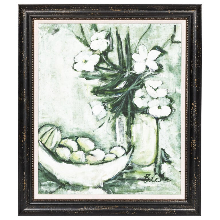 Midcentury 'Green and White' Still Life of Fruit and Flowers For Sale