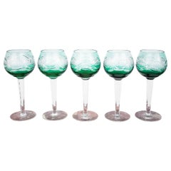 Midcentury Green Crystal Glasses, Poland, 1960s, Set of 5