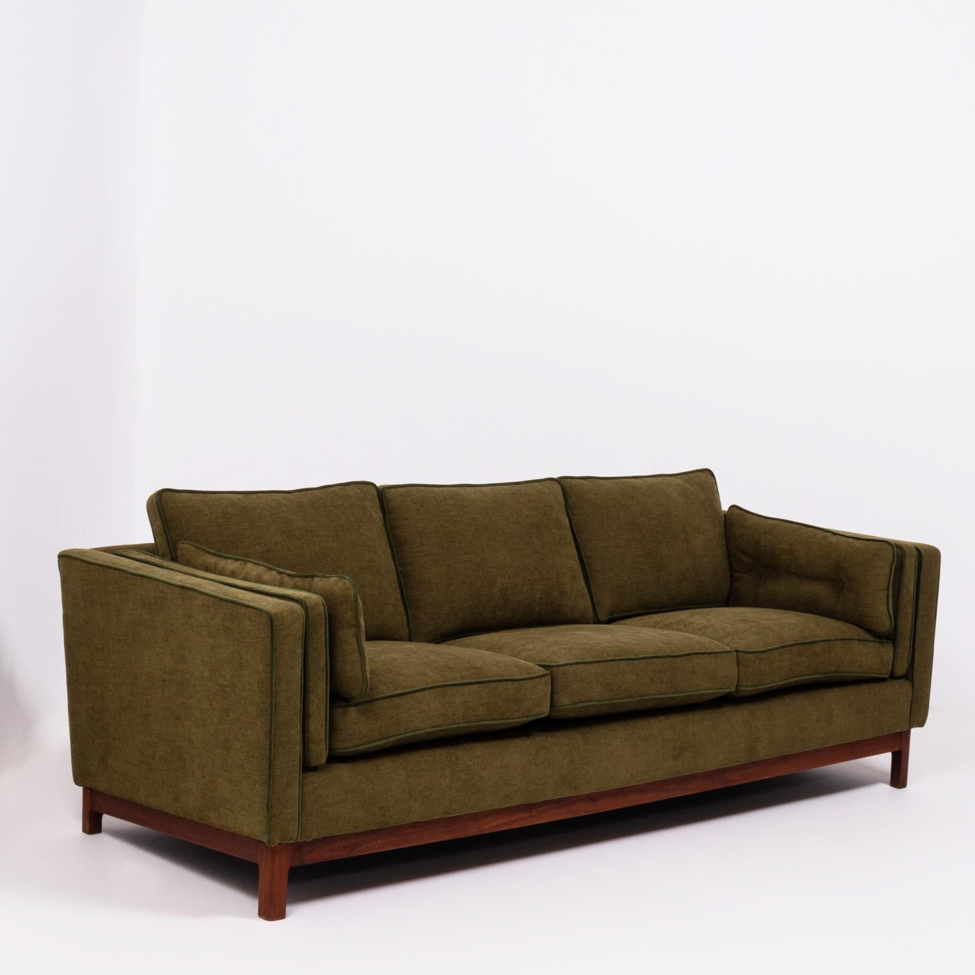 Midcentury Green Fabric 3 Seat Sofa By Folke Ohlsson For DUX
