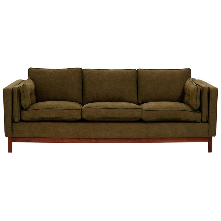 Midcentury Green Fabric 3-Seat Sofa by Folke Ohlsson for DUX