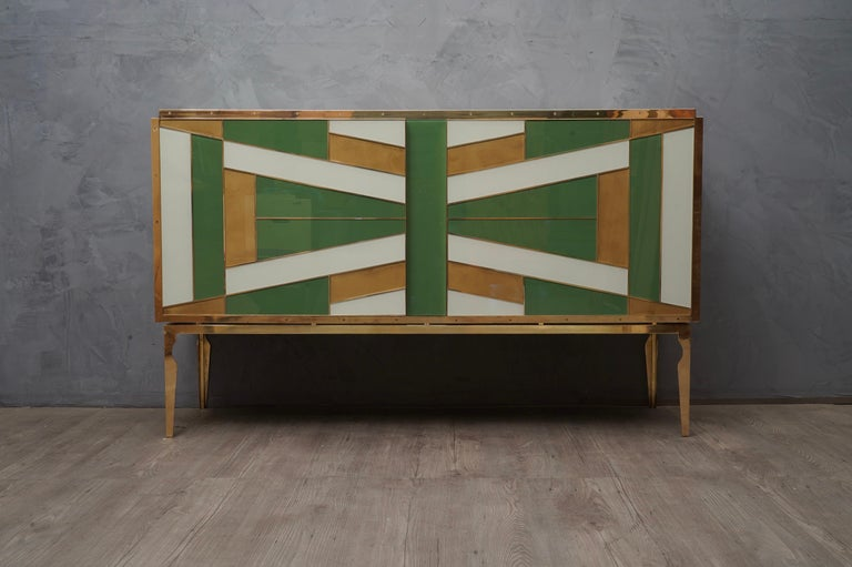 Mid-Century Modern Midcentury Green Gold and ivory Colored Glass Sideboards, 1980 For Sale