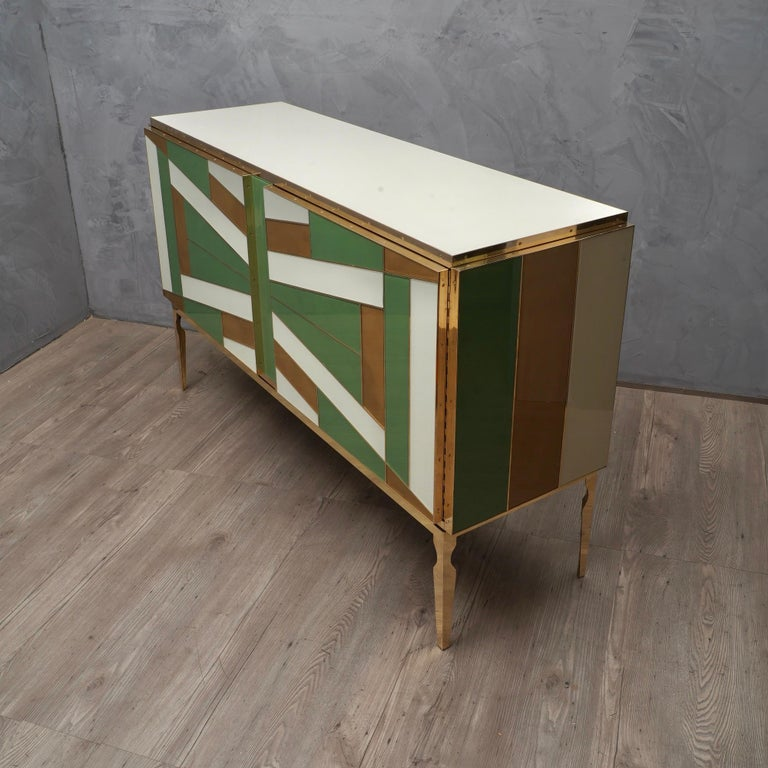 Italian Midcentury Green Gold and ivory Colored Glass Sideboards, 1980 For Sale