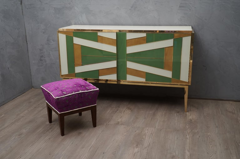 Midcentury Green Gold and ivory Colored Glass Sideboards, 1980 In Good Condition For Sale In Rome, IT