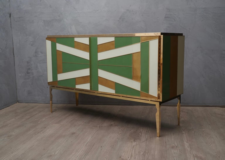 Late 20th Century Midcentury Green Gold and ivory Colored Glass Sideboards, 1980 For Sale