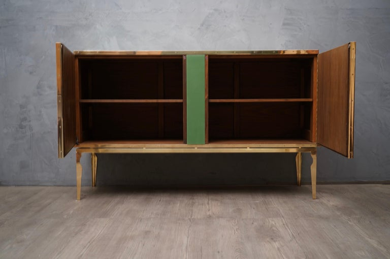 Brass Midcentury Green Gold and ivory Colored Glass Sideboards, 1980 For Sale