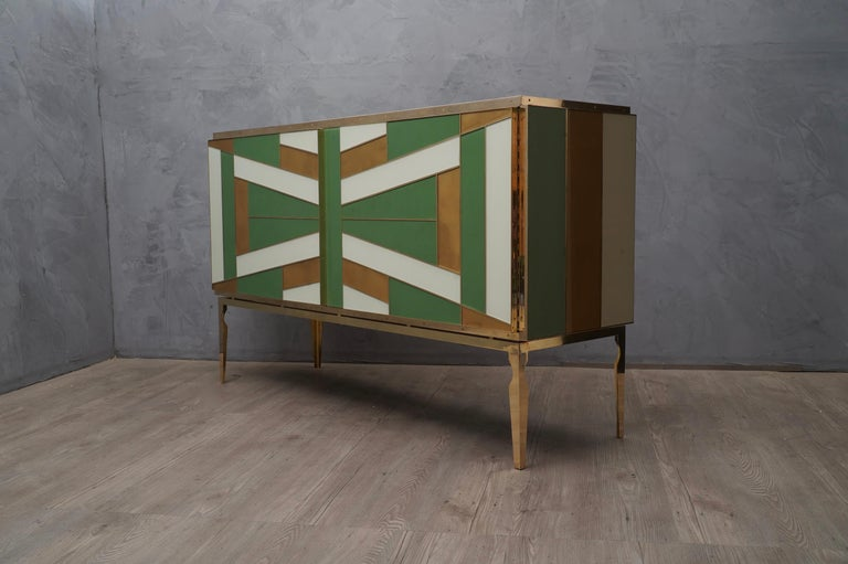 Midcentury Green Gold and ivory Colored Glass Sideboards, 1980 For Sale 1