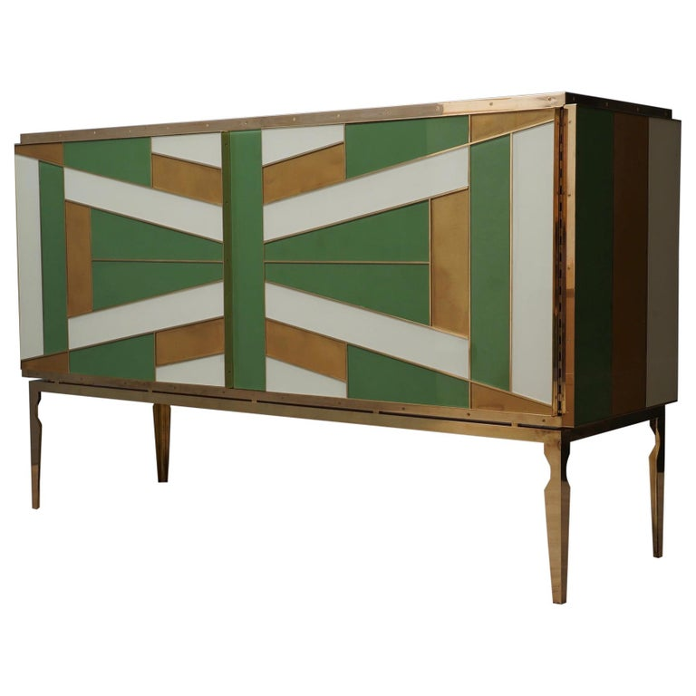 Midcentury Green Gold and ivory Colored Glass Sideboards, 1980 For Sale