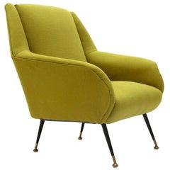 Midcentury Green Italian Armchair, 1950s