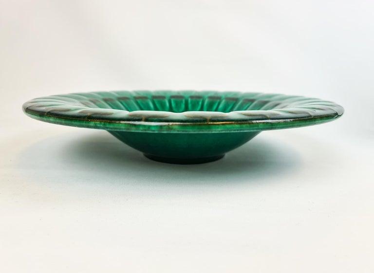 Midcentury Green Large Ceramic Vase and Platter/Bowl Upsala Ekeby