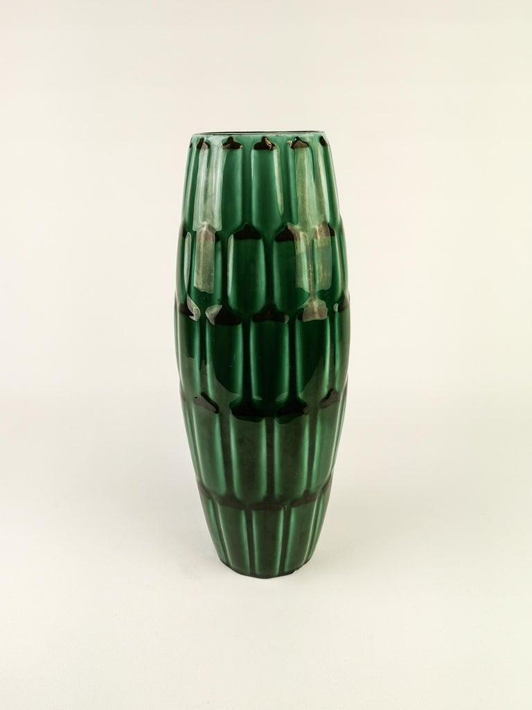 Swedish Midcentury Green Large Ceramic Vase and Platter/Bowl Upsala Ekeby