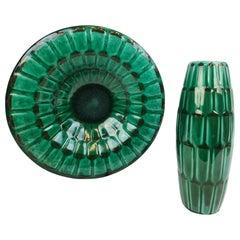 """Midcentury Green Large Ceramic Vase and Platter/Bowl Upsala Ekeby """"Adria"""" 1950s"""