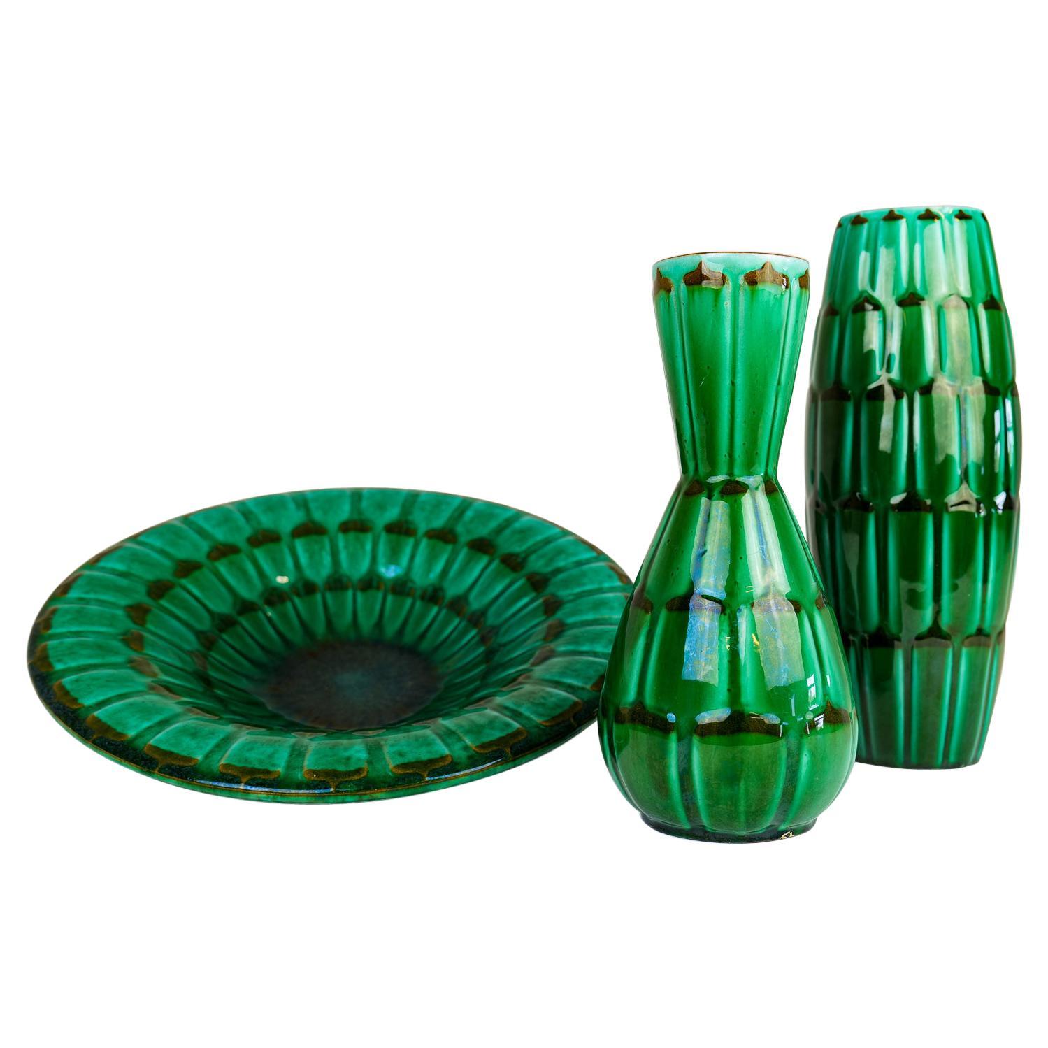 "Midcentury Green Large Ceramic Vases and Platter/Bowl Upsala Ekeby ""Capri"" 1950s"