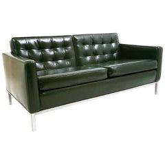 Midcentury Green Naugahyde Settee in the Style of Florence Knoll, Chrome Base