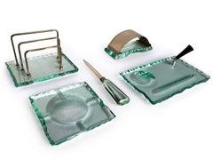 Italian Midcentury Green Nilo Glass Desk Set by Fontana Arte, 1950s