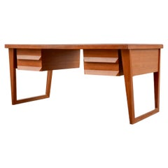 Mid Century Green Saddle Leather Afromosia Teak Executive Writing Desk