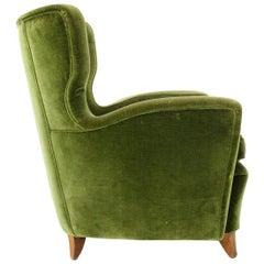 Midcentury Green Velvet Armchair, 1950s