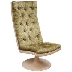 Midcentury Green Velvet Armchairs and Pouf, 1970