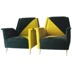 Midcentury Green Velvet Brass Pair of Armchairs, Italy, 1950