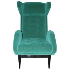 Midcentury Green Velvet French Armchair, 1950