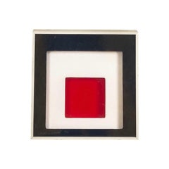 Midcentury Greg Copeland Red & Black Abstract Wall Art Op Art Light Box, 1970s