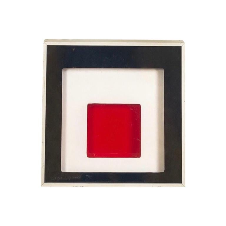Midcentury Greg Copeland Red & Black Abstract Wall Art Op Art Light Box, 1970s For Sale