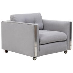 Midcentury Grey and Chrome Frame Armchair in the Style of Milo Baughman