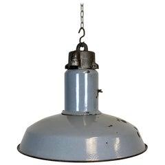 Midcentury Grey Enamel Industrial Ceiling Lamp, 1950s