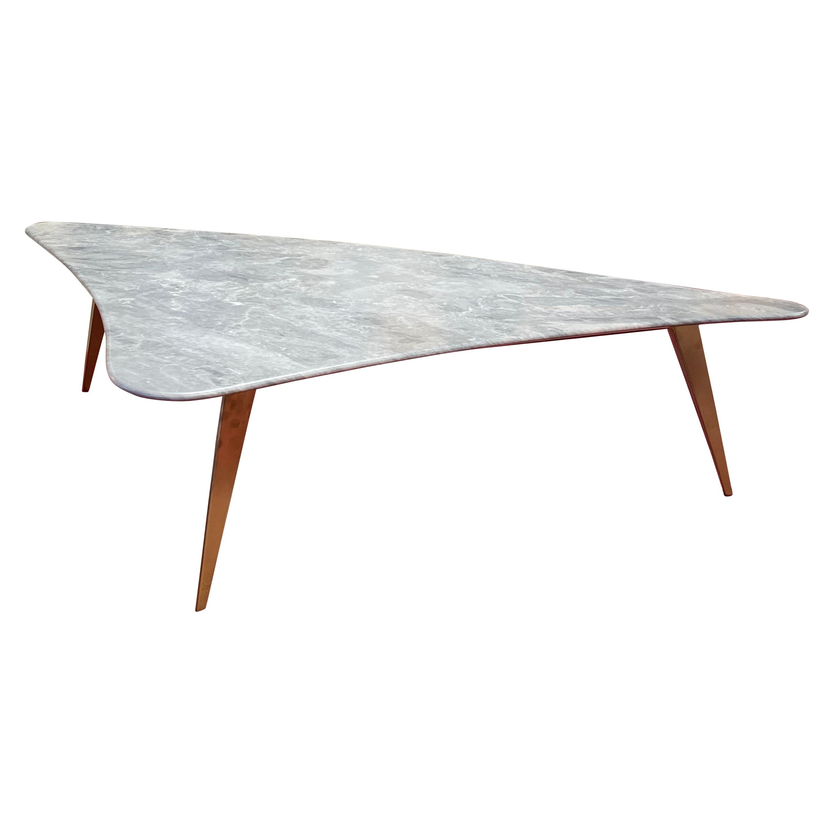 Midcentury Grey Marble and Brass Coffee Table, Italy, 1960s
