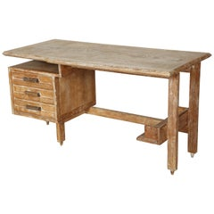 Midcentury Guillerme et Chambron Cerused Oak Desk, France, 1950