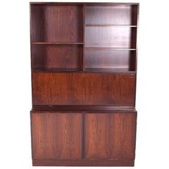 Midcentury Gunni Omann Rosewood Drop Desk Cabinet Bookcase