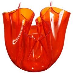 Midcentury Guzzini Orange Plexiglass Lucite Italian Centerpiece, 1970s