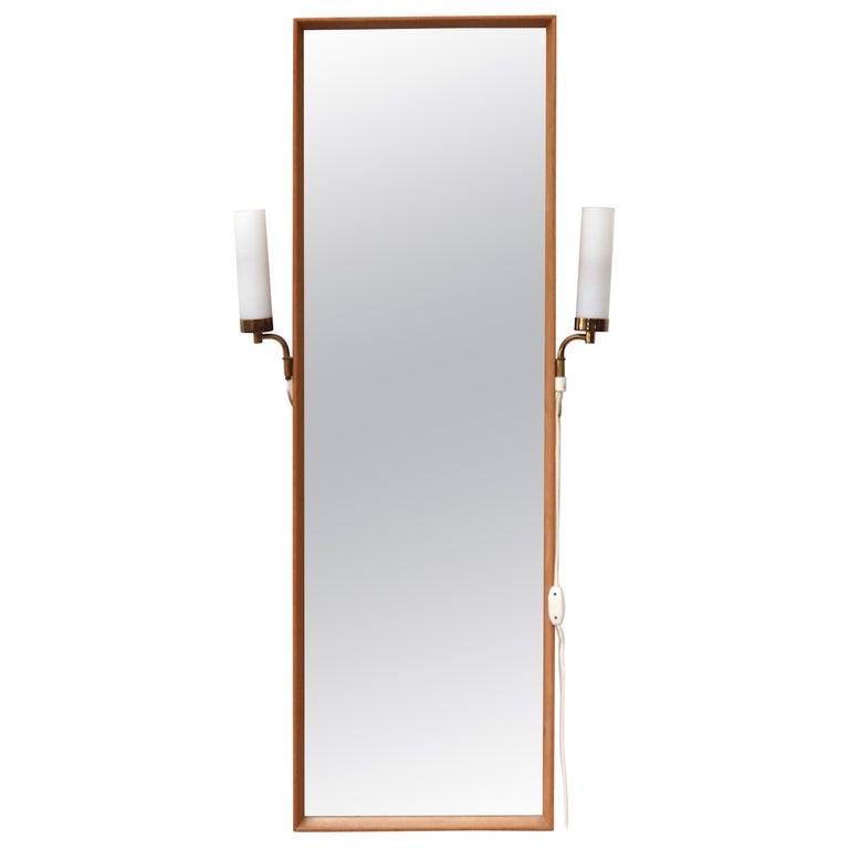 Midcentury Hall Mirror Flanked with Milk Glass Sconces For Sale