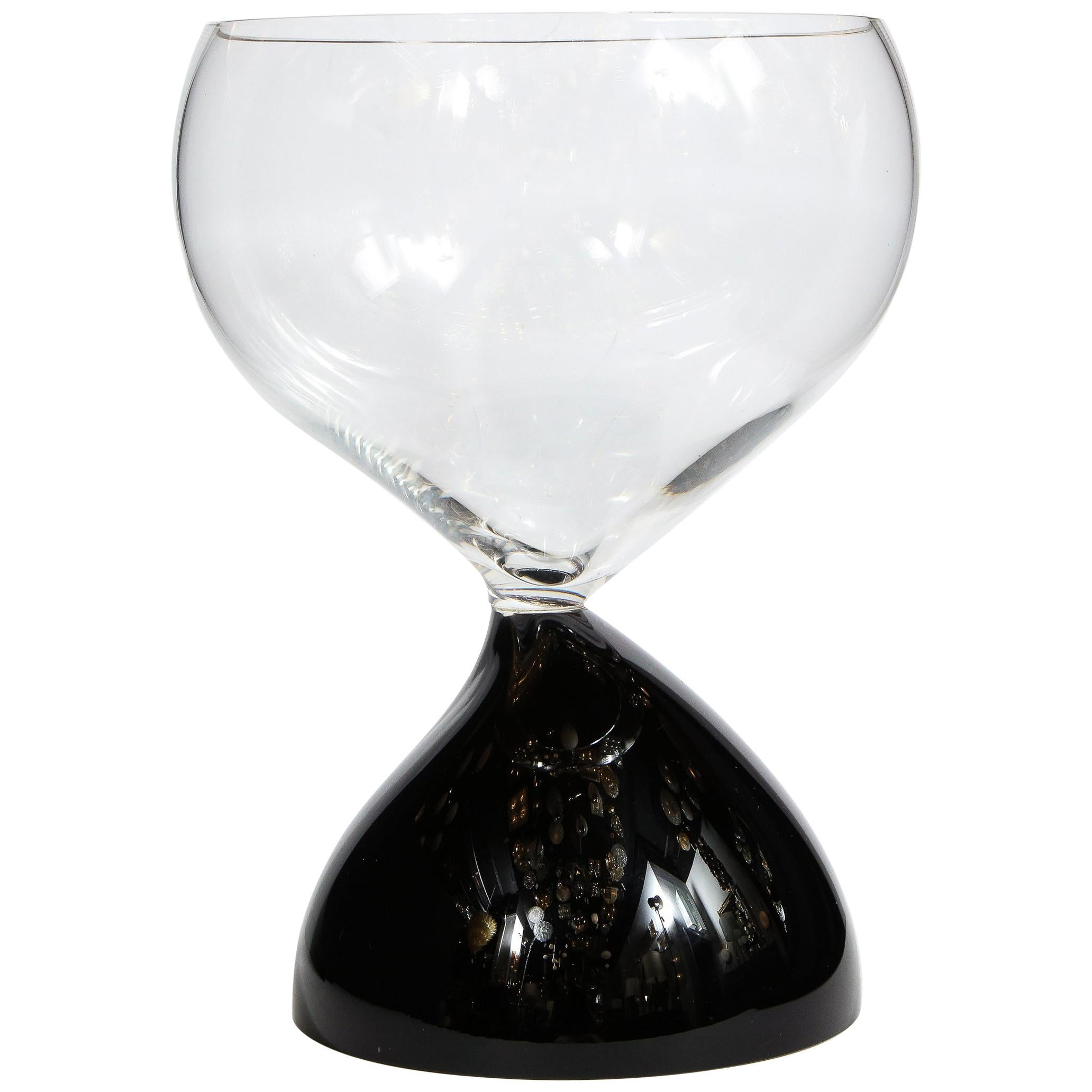 Midcentury Hand Blown Murano Hourglass Center Bowl Signed Cenedese e Albarelli