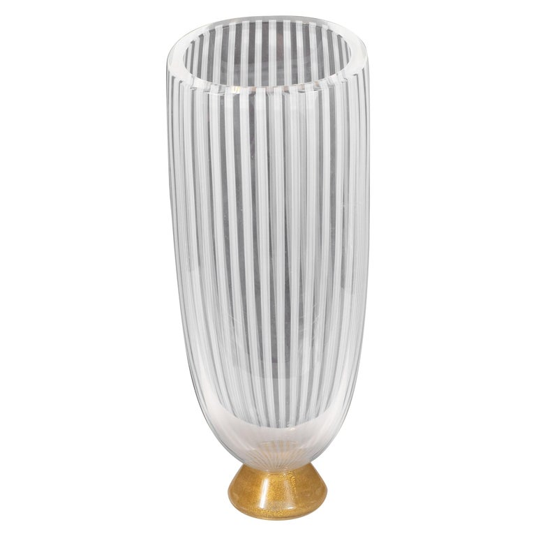Midcentury Hand Blown Murano Striated Glass Vase with 24kt Gold Flecks by Seguso For Sale