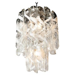 Midcentury Hand Blown Murano Translucent and White Glass Helix Form Chandelier