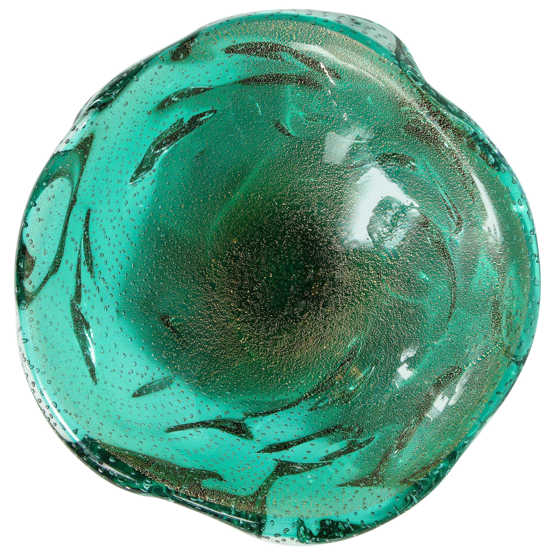 Midcentury Hand Blown Teal Murano Bowl with Clear Murines & 24-Karat Gold Flecks